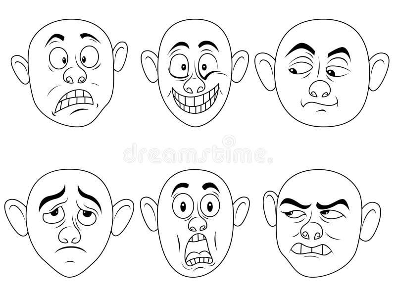 Grimaces masculines r?gl?es illustration de vecteur