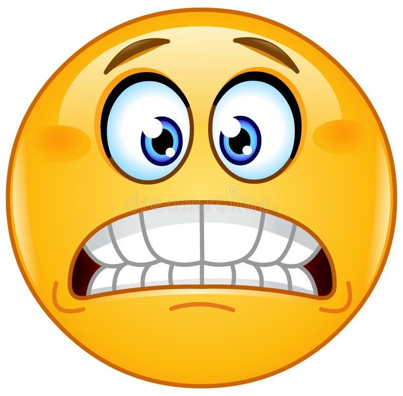Grimacing emoticon. Showing bared teeth