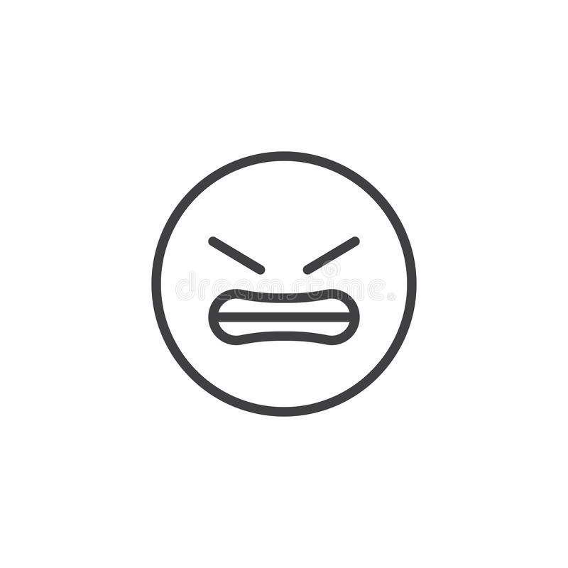 Grimacing Face emoji line icon. Linear style sign for mobile concept and web design. Angry Face emoticon outline vector icon. Symbol, logo illustration. Vector stock illustration