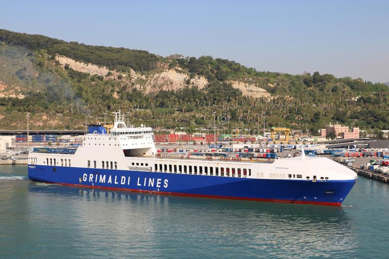 Grimaldi Lines ship. In the Spanish port of Barcelona. Grimaldi Lines is a cargo and ferry company, a part of the Italian Grimaldi Group stock photo