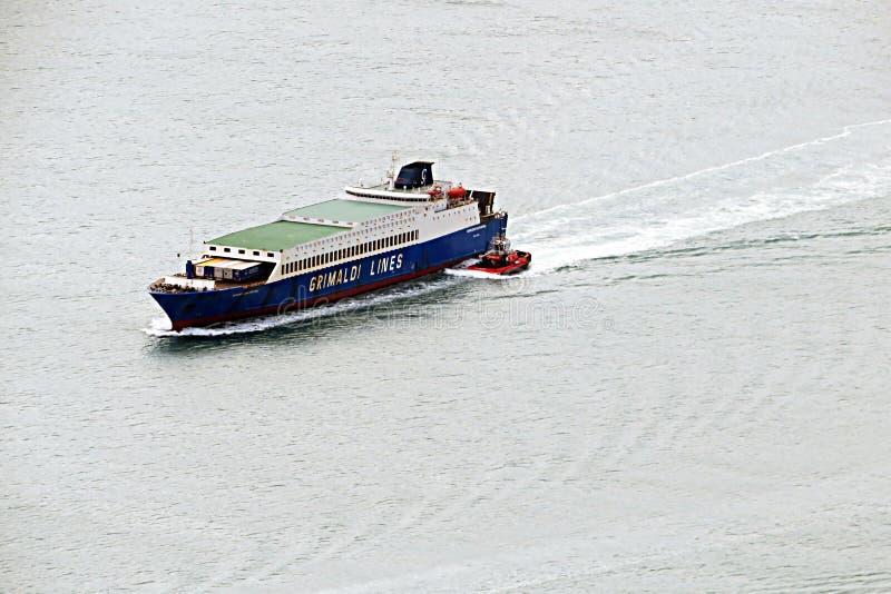 Grimaldi lines. A grimaldi lines ship in the mediterranean sea stock images