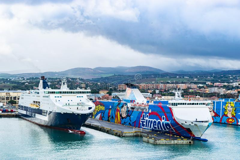 Grimaldi Lines, Tirrenia Athara and  Tirrenia Bithia ferries at the Port of Civitavecchia, Rome. royalty free stock photo