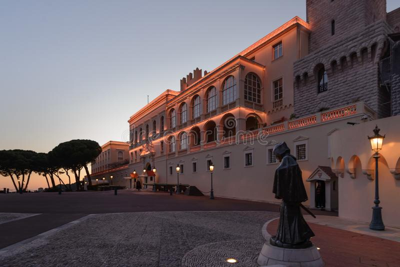 Grimaldi`s Palace in  Monaco. Grimaldi Fortress, the Prince`s Palace of  Monaco. Europe in the evening stock image