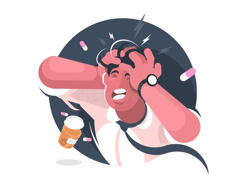 Grimas van de mens met strenge hoofdpijn royalty-vrije illustratie