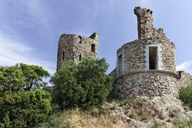 Grimaud, Castle Chateau du Grimaud en el dâAzur de Cote, riviera francesa, Francia, Europa imagen de archivo