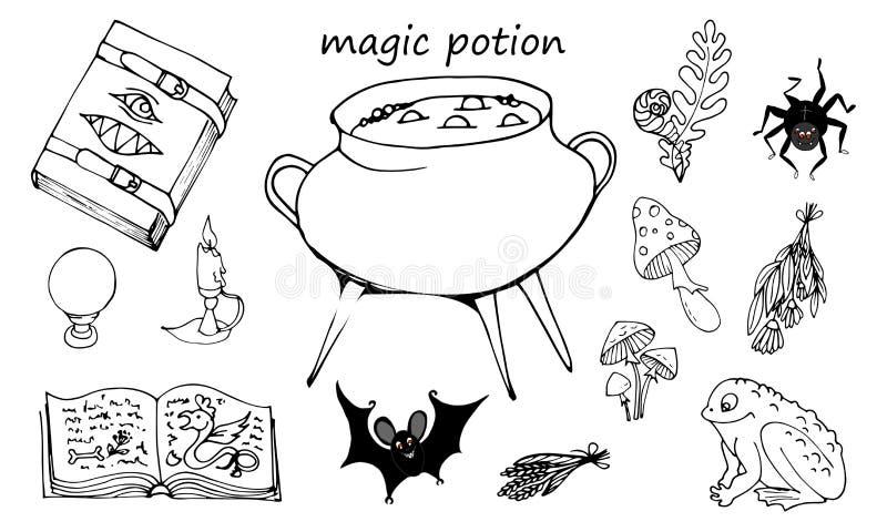 Grimoire, pote con la poción y los ingredientes stock de ilustración