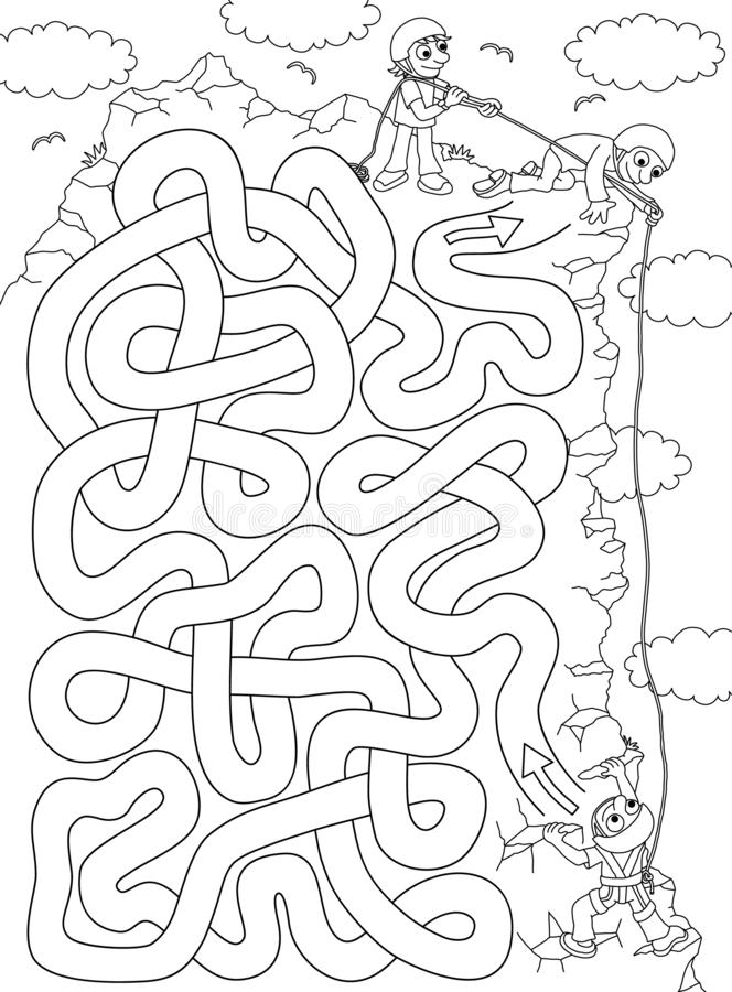Grimpeur - labyrinthe pour des enfants illustration stock