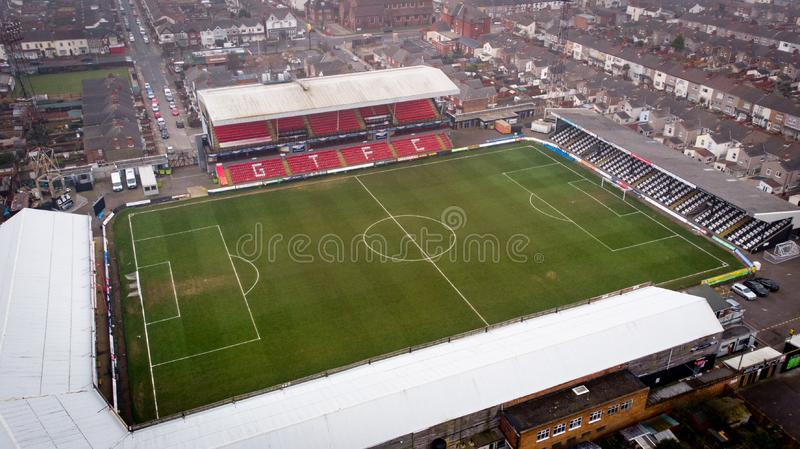 Grimsby, United Kingdom - March 1, 2019: Aerial view of the Grimsby Town Football Club Stadium named Blundell Park. Typical example of a lower league stock photos