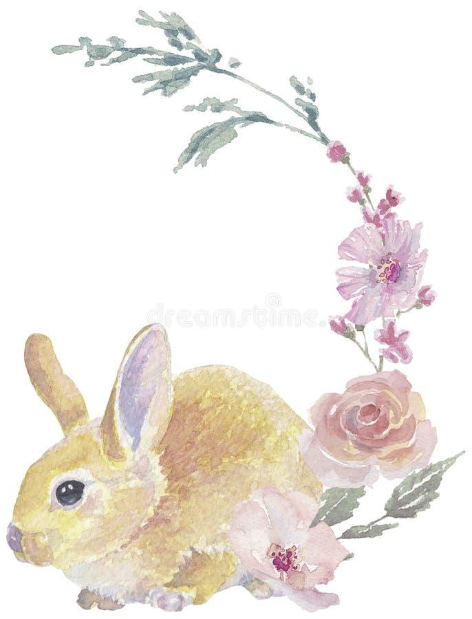 Grinalda amarela do coelhinho da P?scoa imagem de stock