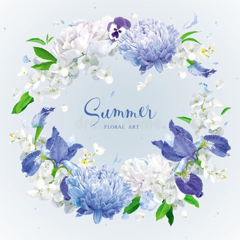 Grinalda azul das flores do verão ilustração royalty free