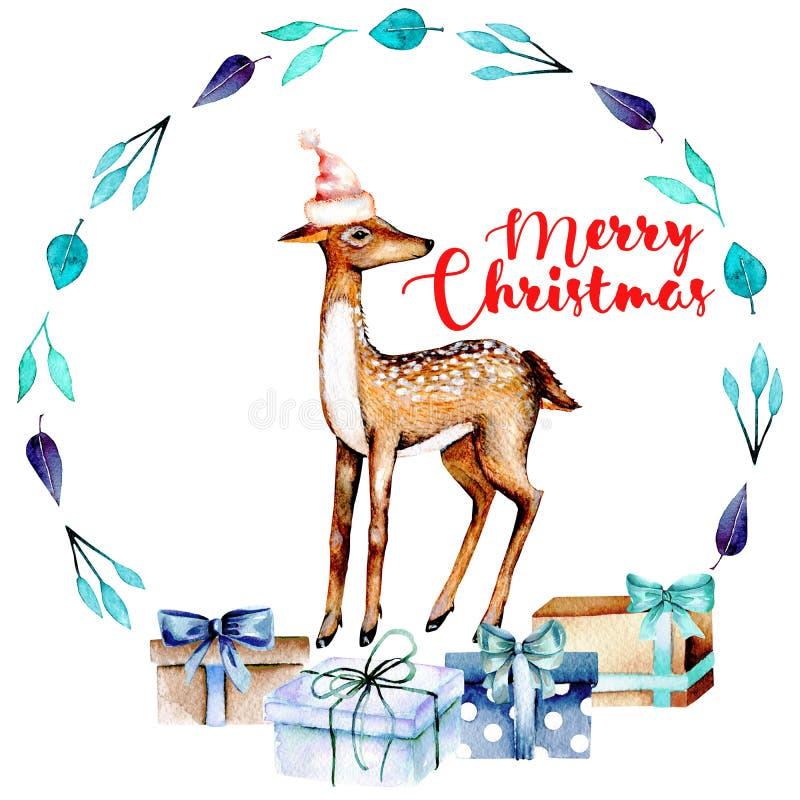Grinalda azul do Natal com cervos e caixas de presente da aquarela ilustração royalty free