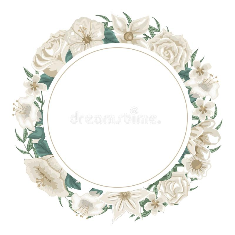 Grinalda bonita das flores e das rosas brancas para a dedicação ilustração stock