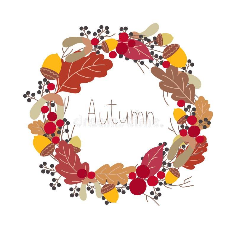 Grinalda botânica redonda do outono com letras ilustração stock