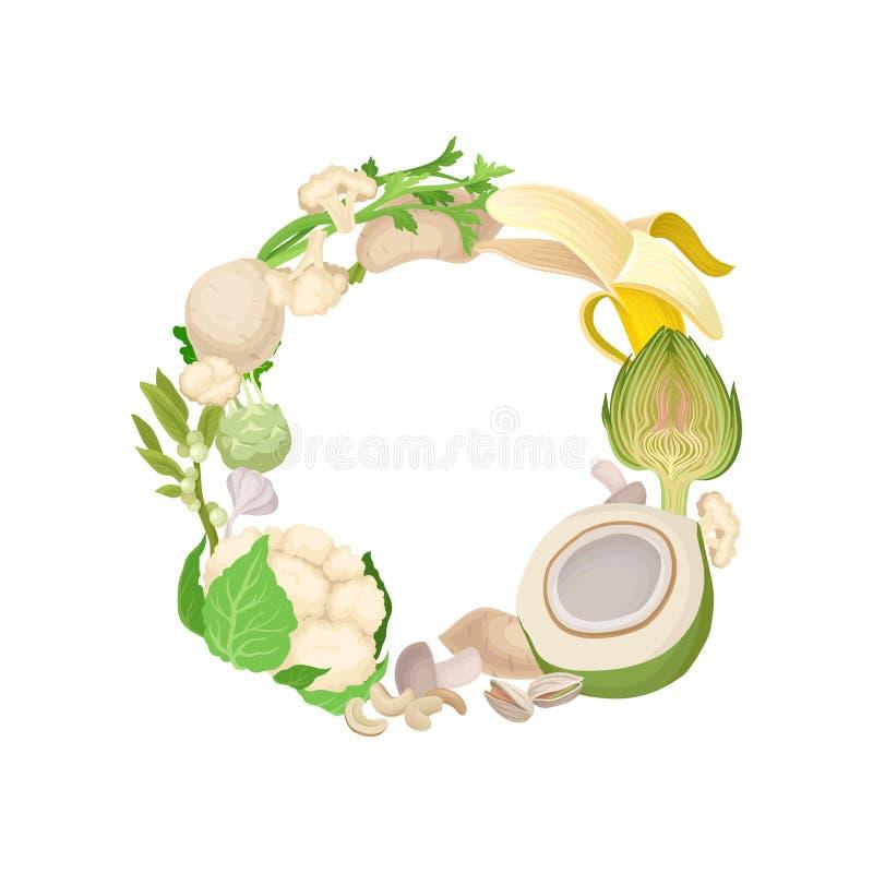 Grinalda branca de vários vegetais e porcas Ilustra??o do vetor no fundo branco ilustração royalty free