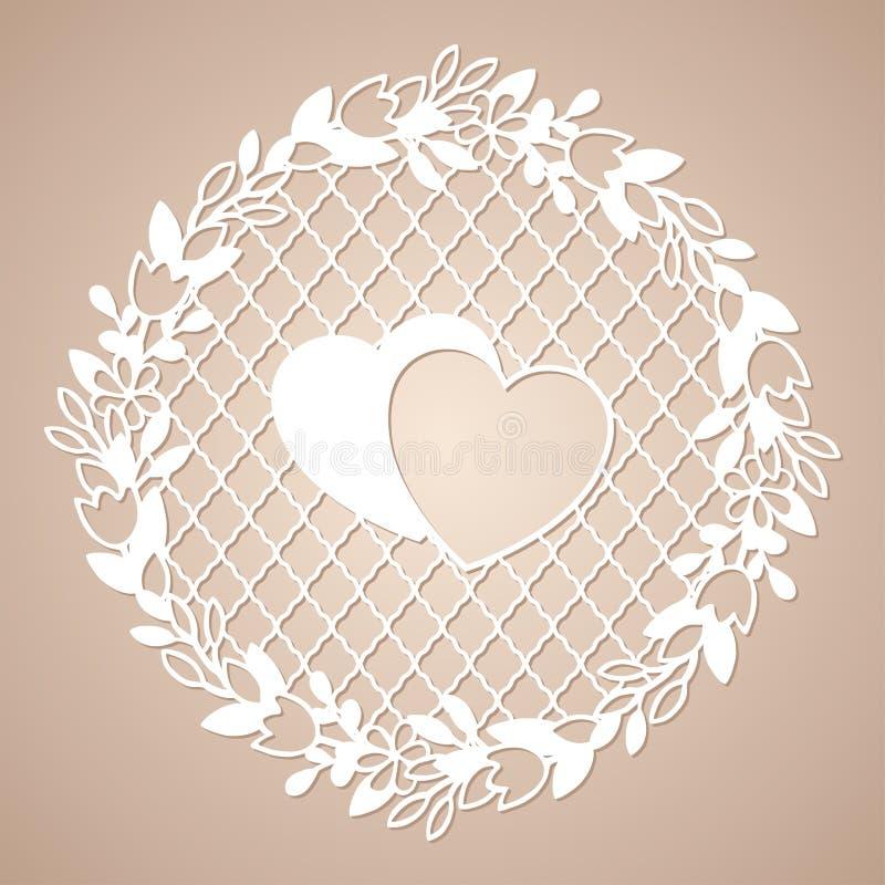 Grinalda a céu aberto das flores com dois corações Molde de corte do laser ilustração royalty free