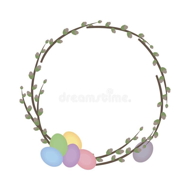 Grinalda colorida bonito da mola com os salgueiros e os ovos coloridos da Páscoa isolados no vetor branco do fundo ilustração royalty free