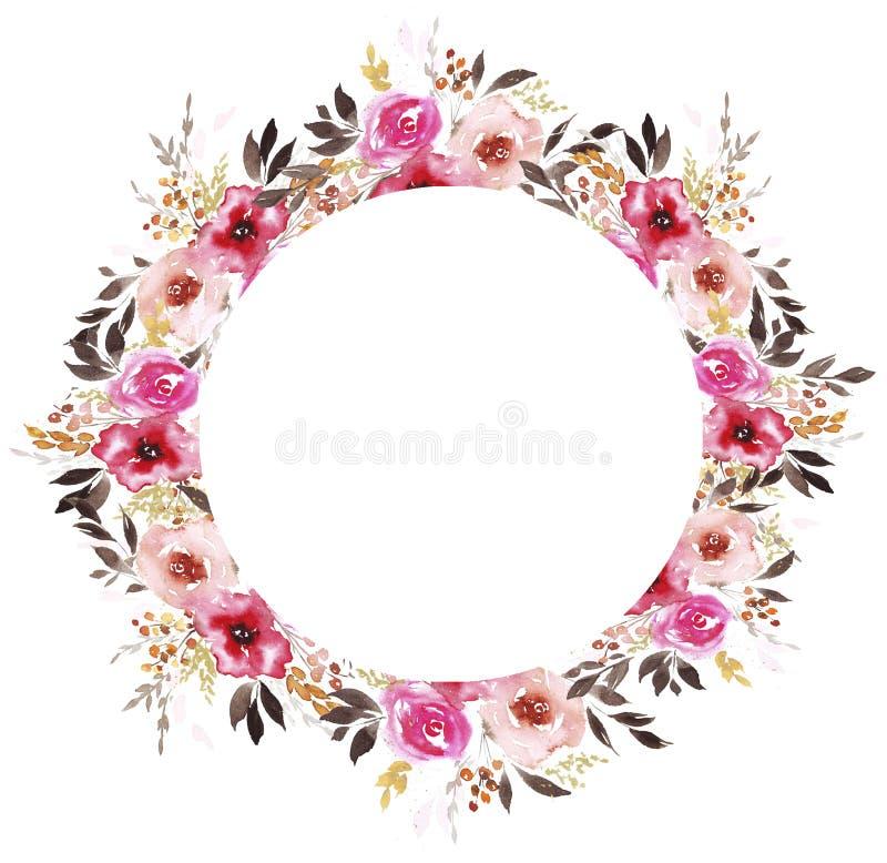 Grinalda com as flores abstratas da aquarela ilustração do vetor