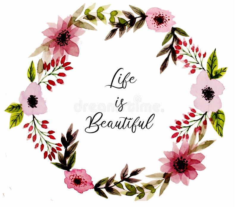 Grinalda com as flores abstratas da aquarela do rosa e das folhas verdes ilustração do vetor
