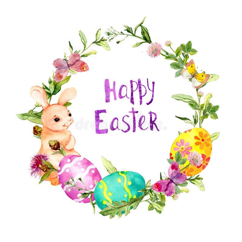 Grinalda com coelhinho da Páscoa, ovos coloridos na grama, flores, borboletas, Páscoa feliz do texto Frame redondo watercolor ilustração do vetor