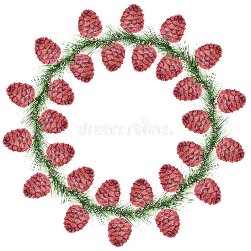 Grinalda com cones do cedro ilustração do vetor