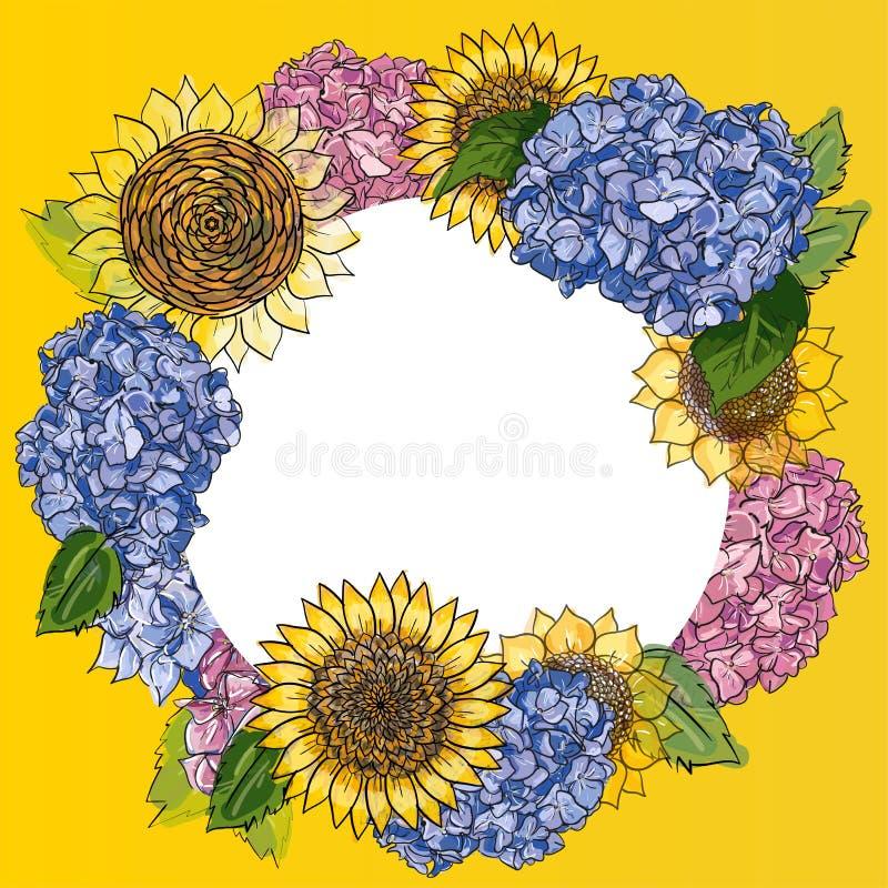 Grinalda com os girassóis e a hortênsia tirados mão no quadro redondo Fundo floral r?stico Ilustração botânica do vetor dentro ilustração royalty free