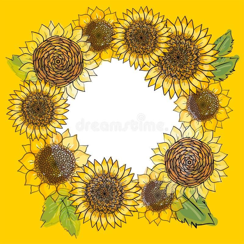 Grinalda com quadro redondo tirado mão dos girassóis Fundo floral r?stico Ilustração botânica do vetor no estilo da aquarela ilustração royalty free