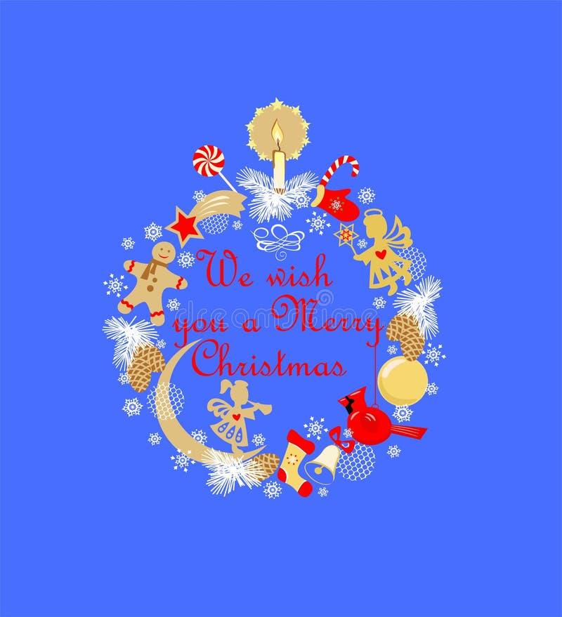 Grinalda criançola engraçada do Natal do applique com vela dourada, pão-de-espécie, anjos pequenos, bola, sino de tinir, estróbil ilustração stock
