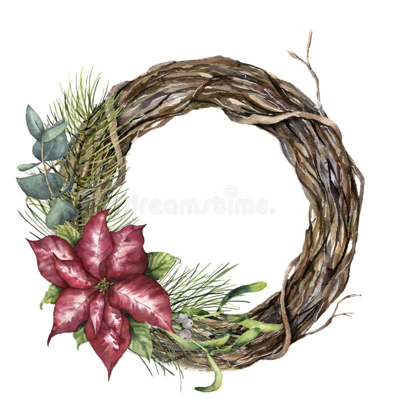 Grinalda da árvore da aquarela com decoração do Natal Ramo de árvore pintado à mão com poinsétia, eucalipto, visco e ilustração do vetor