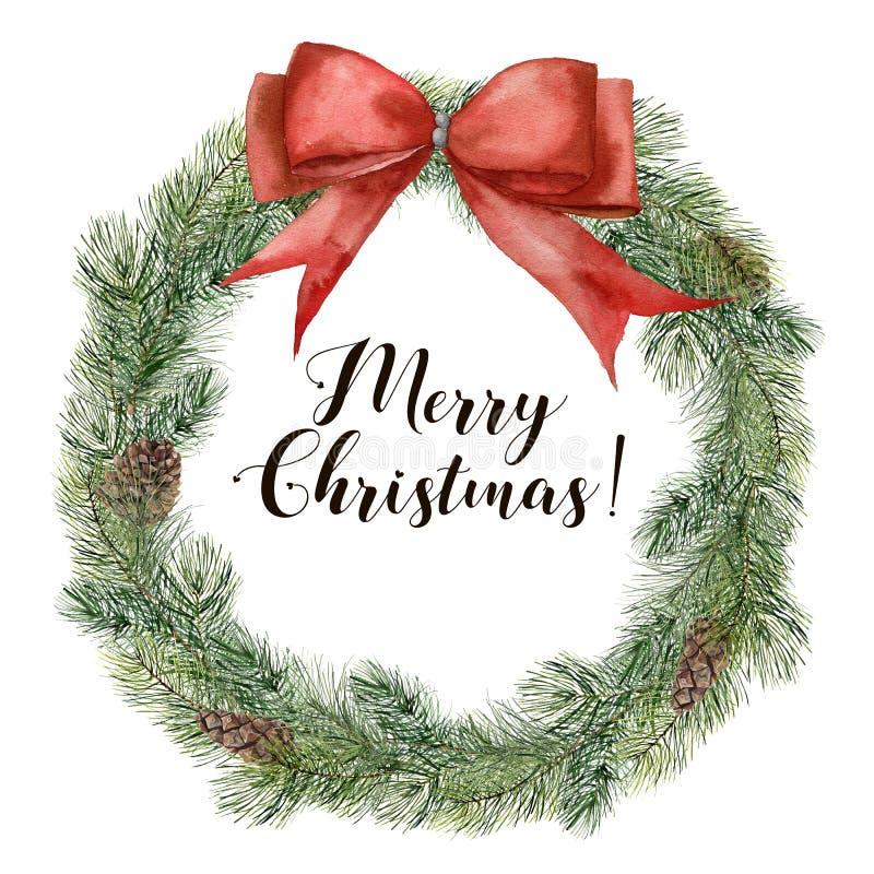 Grinalda da árvore de Natal da aquarela com fita vermelha Ramo pintado à mão do abeto com o cone do pinho isolado no fundo branco ilustração royalty free