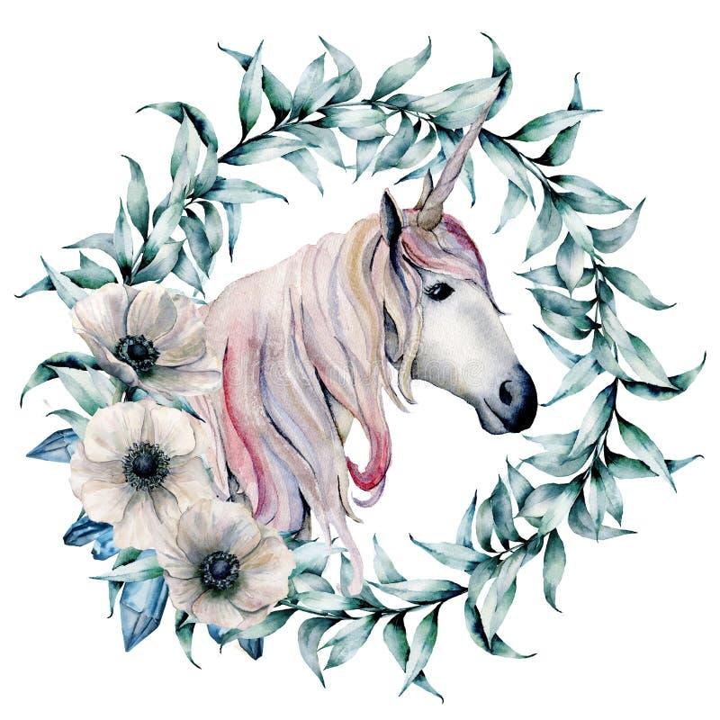 Grinalda da aquarela com folhas e unicórnio do eucalipto Grinalda floral pintado à mão com ramos e as anêmonas brancas ilustração royalty free