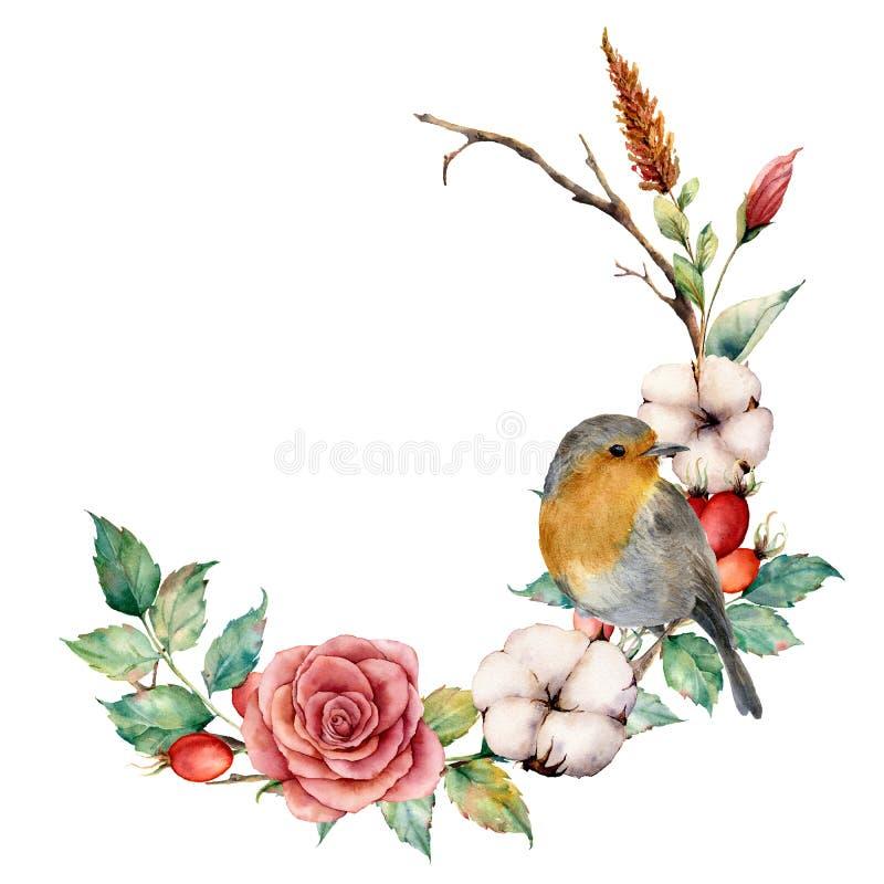 Grinalda da aquarela com pisco de peito vermelho e algodão A beira pintado à mão da árvore com aumentou, as bagas do dogrose e as ilustração stock