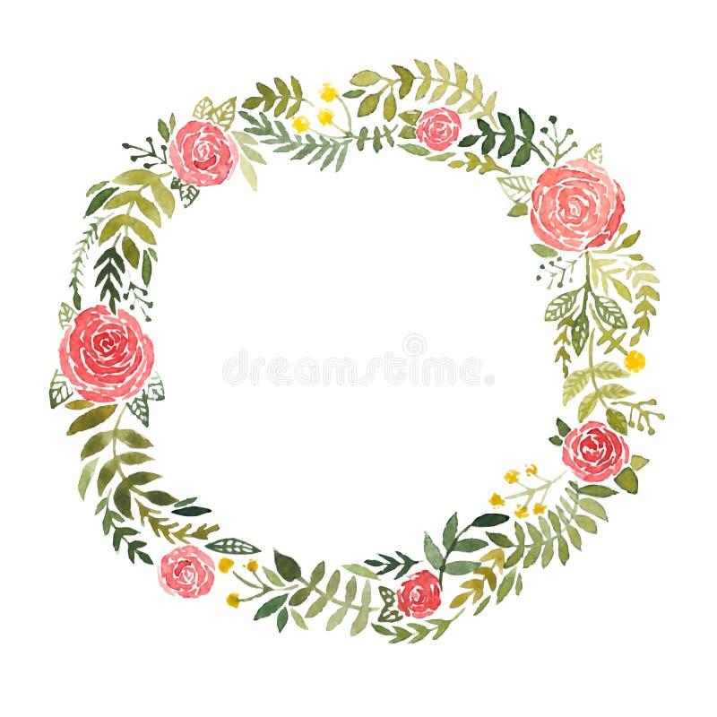 Grinalda da aquarela com rosas e folhas ilustração royalty free