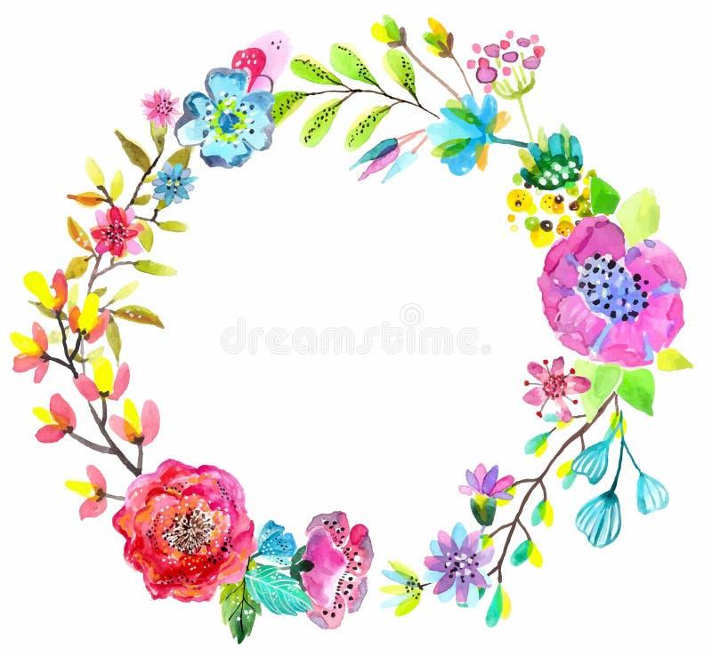 Grinalda da aquarela da flor para o projeto bonito ilustração do vetor
