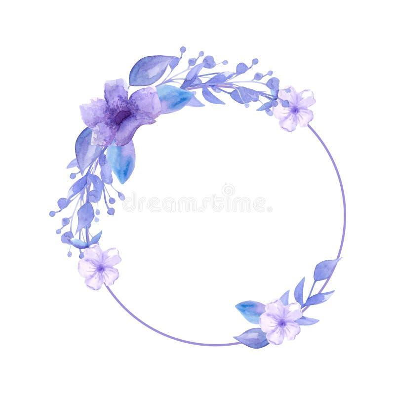 Grinalda da aquarela de flores lilás delicadas bonitas Para a decoração de convites do casamento Desenho da carta branca Modo da  ilustração do vetor