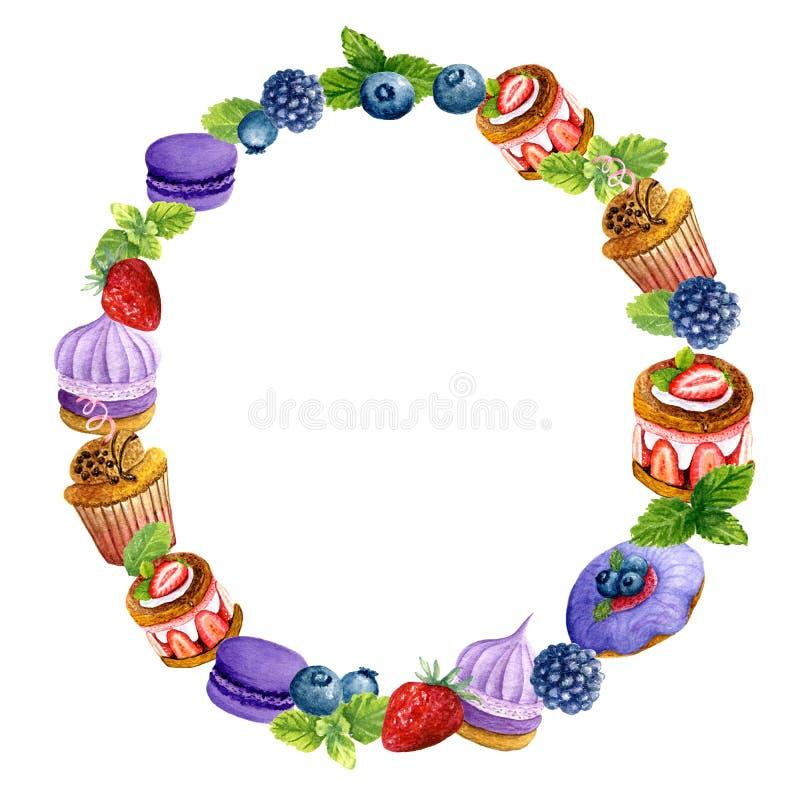 Grinalda da aquarela de sobremesas e de bagas doces Composi??o saboroso dos bolos, do macaron, dos biscoitos e da hortel ilustração stock
