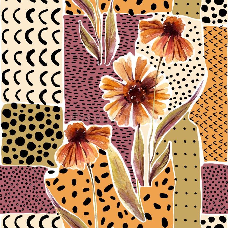 A grinalda da aquarela do outono no fundo geométrico com flores, folhas, rabisca ilustração do vetor