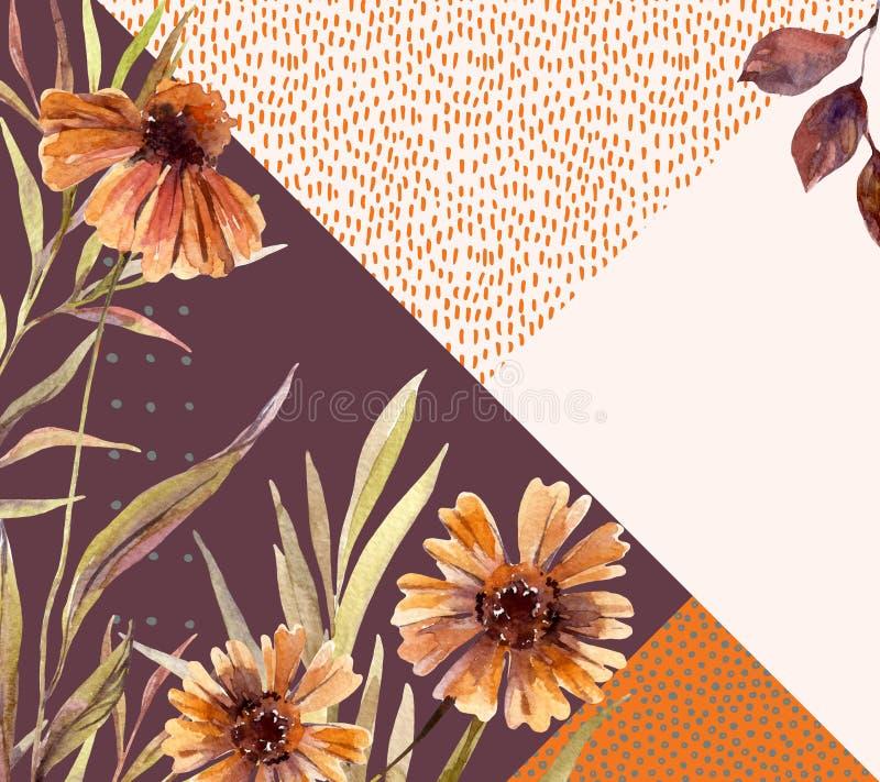 A grinalda da aquarela do outono no fundo geométrico com flores, folhas, rabisca ilustração royalty free
