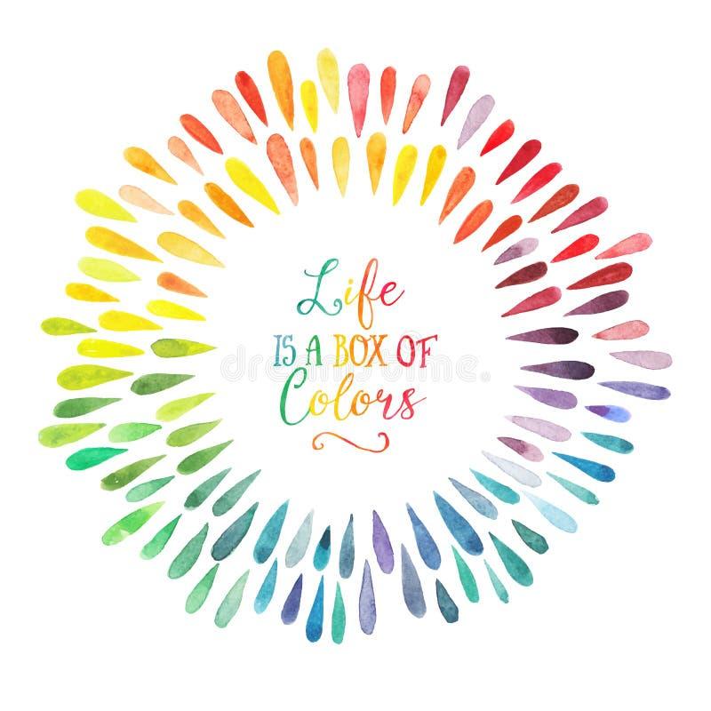 Grinalda da aquarela do vetor com gotas coloridas do arco-íris ilustração stock
