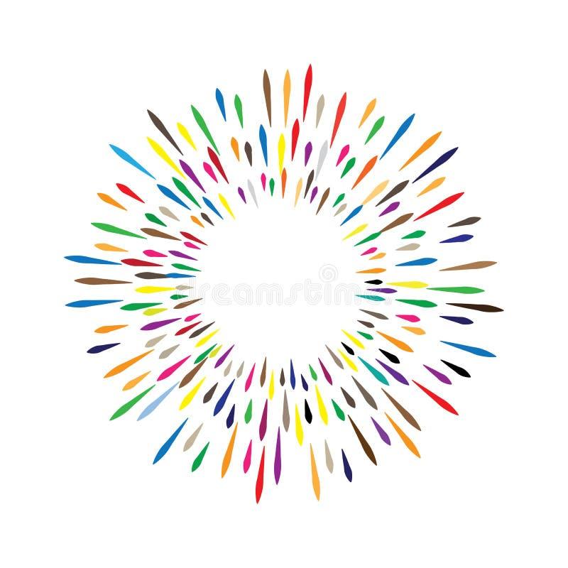 Grinalda da aquarela do vetor com gotas coloridas do arco-íris do sp da pintura ilustração stock