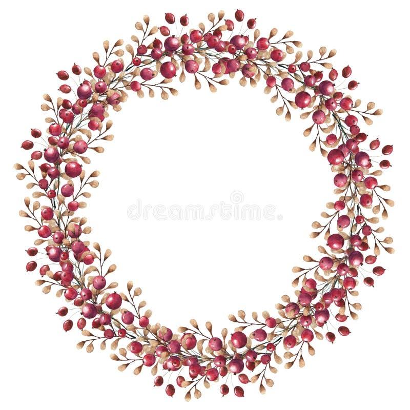 Grinalda da aquarela dos ramos para o projeto da ação de graças ilustração stock