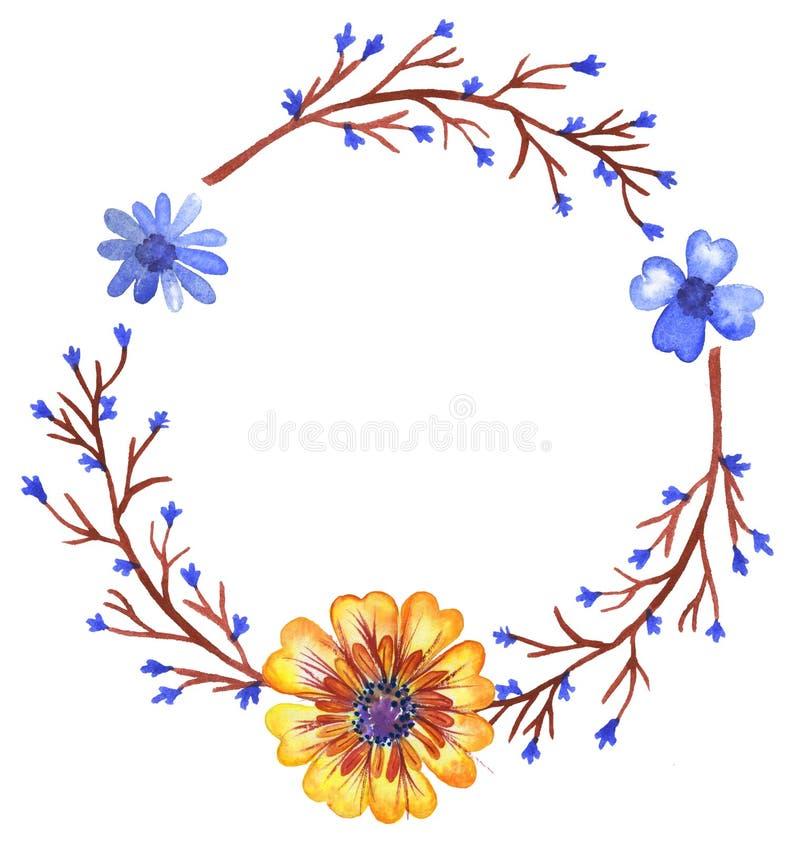Grinalda da aquarela dos wildflowers imagens de stock royalty free