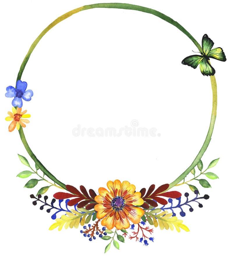 Grinalda da aquarela dos wildflowers foto de stock royalty free