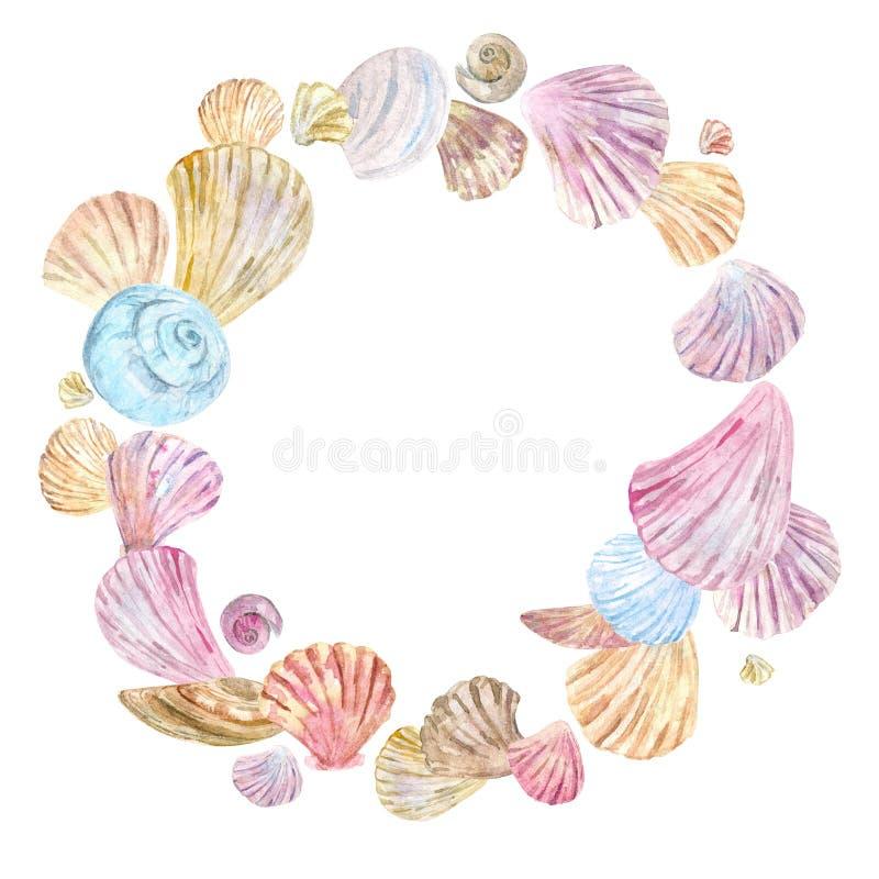 Grinalda da concha do mar da aquarela ilustração do vetor