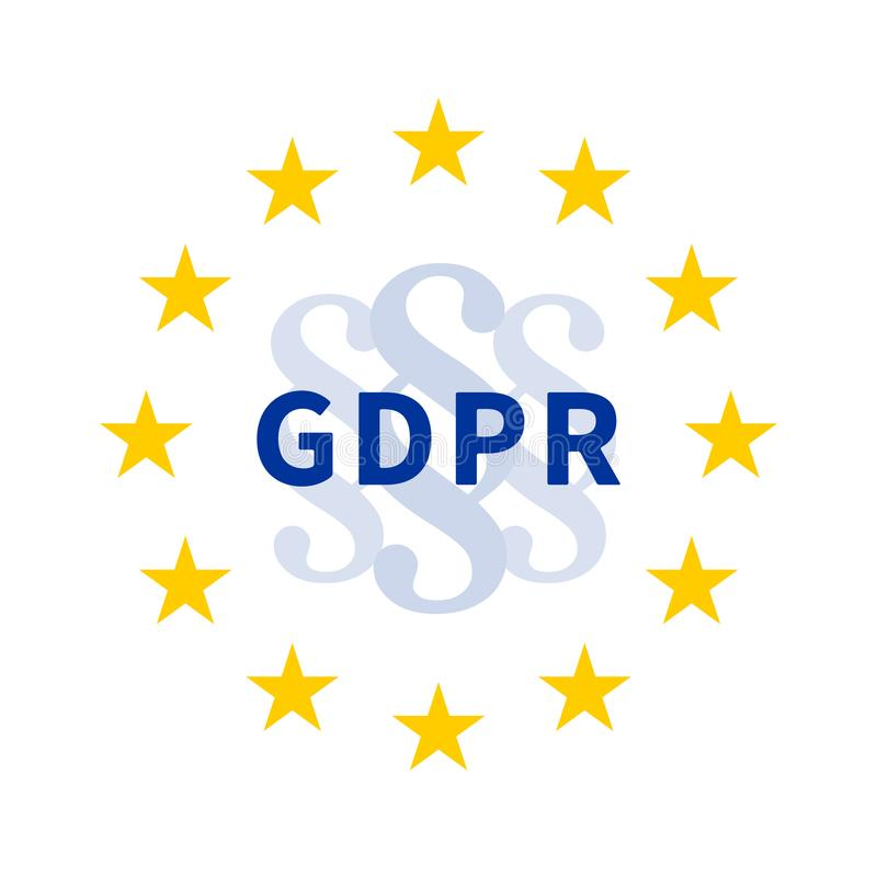 Grinalda da estrela da UE com sinal da seção/marca de parágrafo e GDPR/regulamento geral da proteção de dados ilustração royalty free
