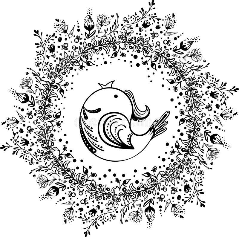 Grinalda da flor com pássaro imagens de stock royalty free