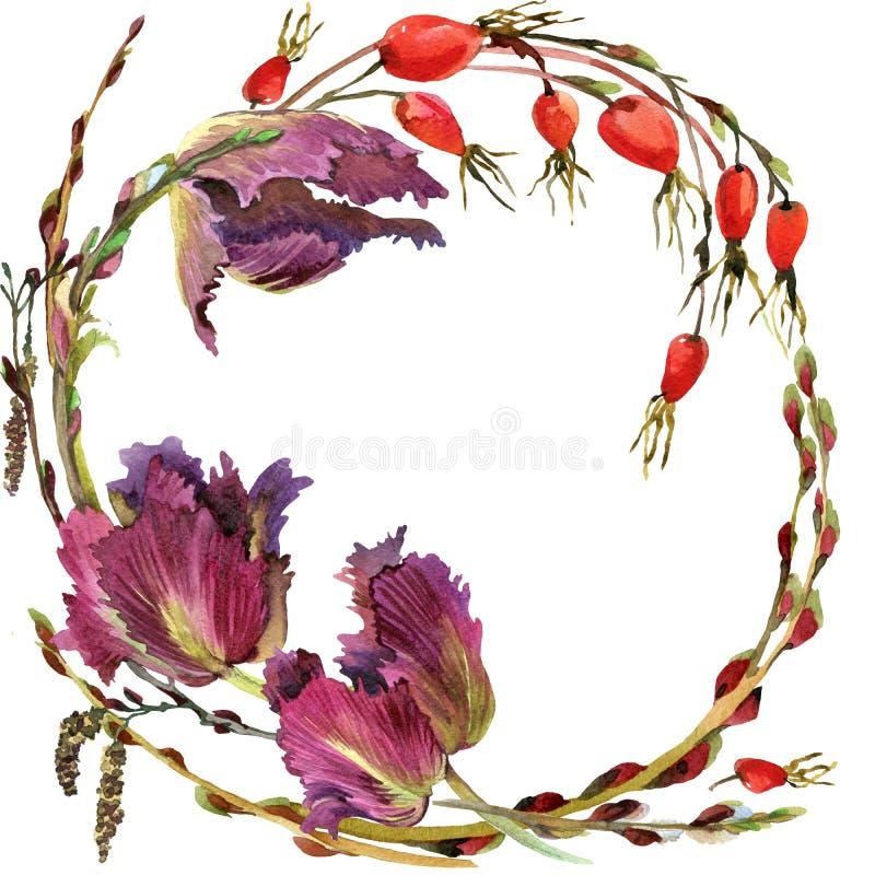 Grinalda da flor da aquarela ilustração do vetor