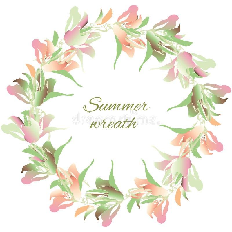 Grinalda da flor de flores da aquarela Verde delicado da mola e flores cor-de-rosa em um fundo branco Ilustra??o do vetor ilustração royalty free