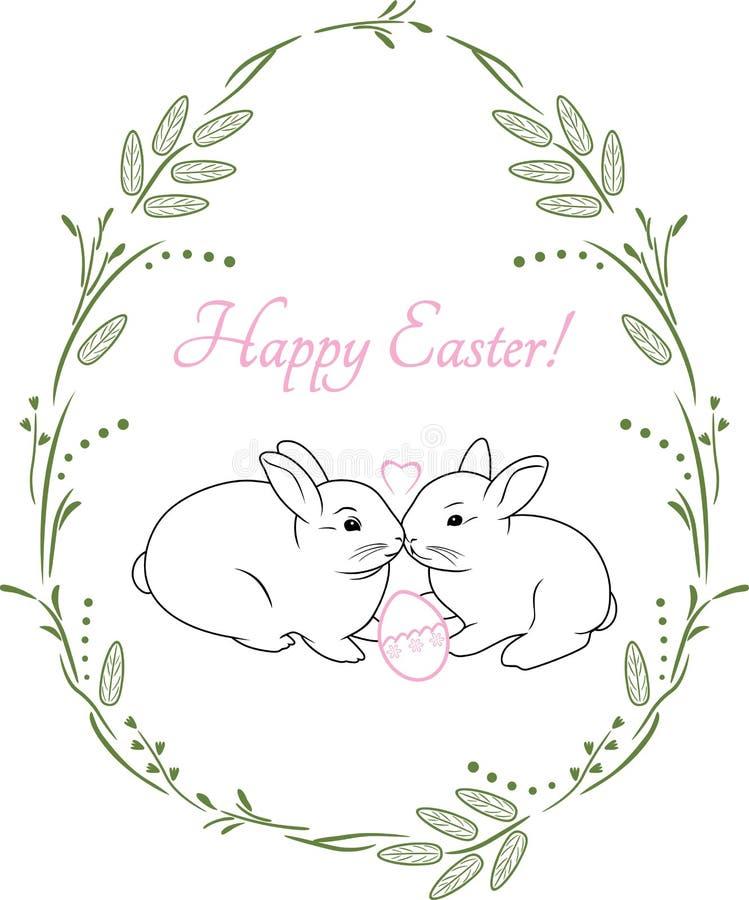 Grinalda da mola com dois coelhos bonitos Projeto do vintage para o cartão de Páscoa