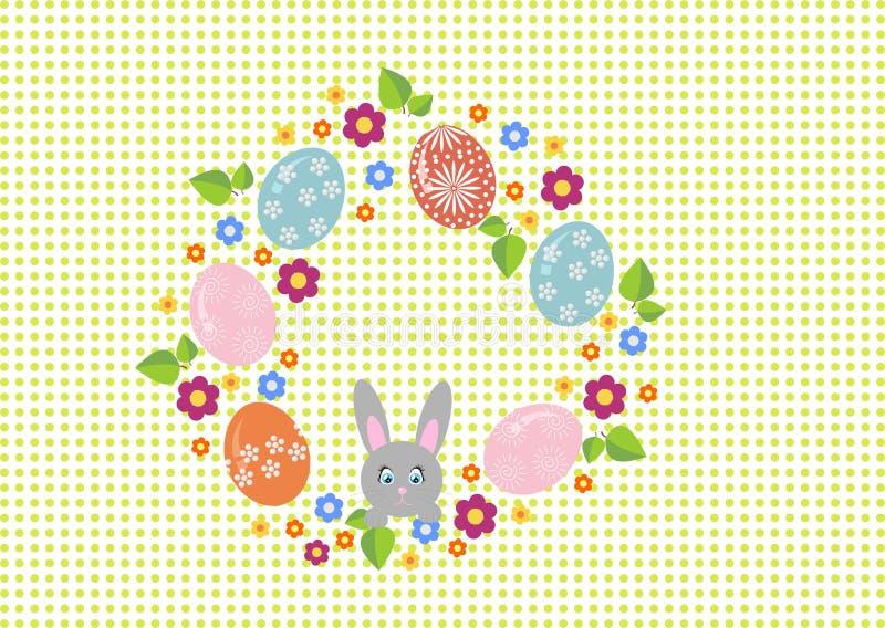 Grinalda da Páscoa com os ovos da páscoa no fundo branco Quadro decorativo da garatuja dos ovos da páscoa e dos elementos florais ilustração royalty free