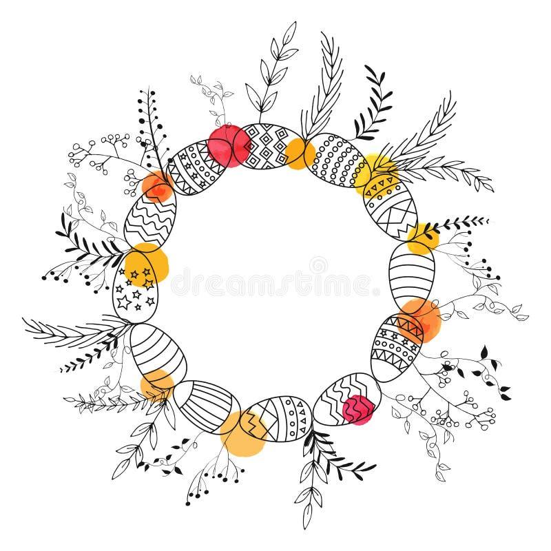 Grinalda da Páscoa com ovos decorativos, folhas e os pontos coloridos da aquarela ilustração do vetor